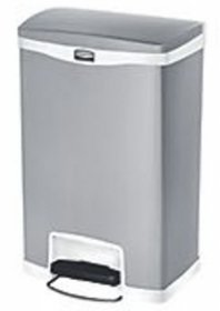 Rubbermaid R1901997 Slim Jim Step On Front Step Bin 50L White / Stainless Steel
