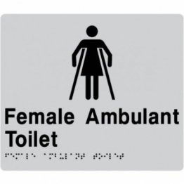 Best Buy FAT-SILVER Female Ambulant Toilet Braille Sign Silver