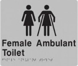 Best Buy FFAT-Silver Female Toilet and Female Ambulant Braille Sign