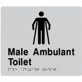 Best Buy MAT-SILVER Male Ambulant Toilet Braille Sign Silver