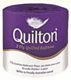 ABC Quilton Luxury 0-3200 3Ply Toilet Paper Carton (48 Rolls)