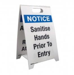 Brady 879141 Economy Floor Stand - Sanitise Hands Prior to Entry/All Visitors Must Register at Office