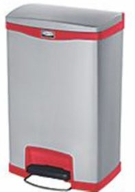 Rubbermaid R1901995 Slim Jim Step On Front Step Bin 50L Red / Stainless Steel